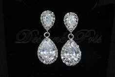 Bridal CZ Earrings Wedding Accessory Bridal by DesignByPris, $36.21