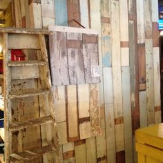 Fun wallpaper that looks like battered old planks of wood