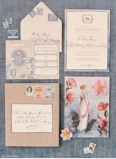 Luxury Wedding Invitations by Ceci New York - Our Muse - Old World-Inspired Wedding - Be inspired by Corbin and Thatcher's romantic, vintage...