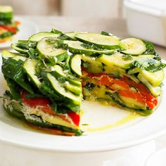 This Layered Vegetable-Romano Torte features colorful layers of veggies separated by rich Romano cheese. More healthy potluck recipes: http://www.bhg.com/recipes/party/party-ideas/heart-healthy-potluck-recipes/?socsrc=bhgpin082313vegetabletorte=25