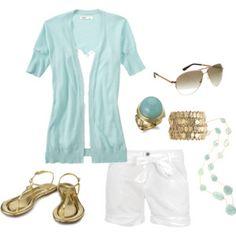 Summer look-aqua and white