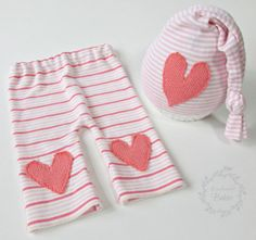 Baby girls pink and coral hat and pants photo by BowTweetBabies, $28.00