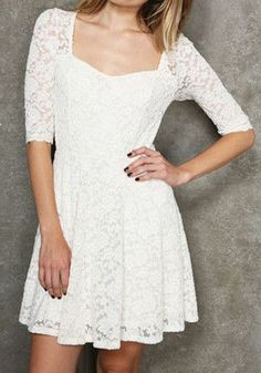 Sweetheart Neck Sheer Lace Dress - White