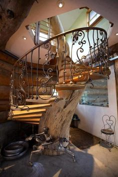 Awesome curved staircase.