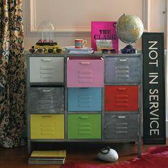 modern patchwork, design, decorating,design trend, vintage, metal, lockers, painted furniture