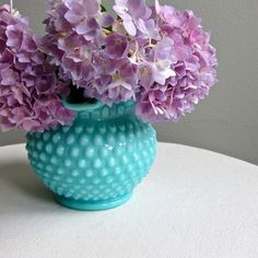Turquoise Blue Hobnail Milk Glass Vase by Fenton