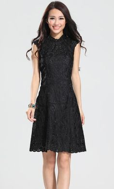 Black Turtleneck Cap Sleeve Embroidery Flowers Dress