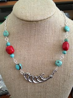 Red Coral and Turquoise Silver Necklace by joytoyou41 on Etsy, $40.00