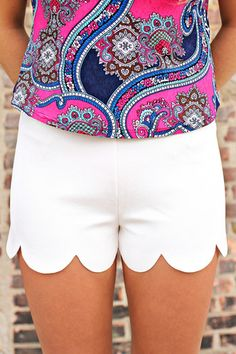 Scalloped Hem High Rise Shorts | uoionline.com: Women's Clothing Boutique
