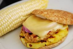 Spicy Grilled Pineapple Chicken Burger Recipe – 6 Points + - LaaLoosh (Perfect for a summer BBQ, these Hawaiian style chicken burgers are spicy and delicious. The fresh grilled pineapple, melted cheese and chipotle mayo give them the perfect finishing touch. A tasty and healthier alternative to standard, traditional grilled burgers.