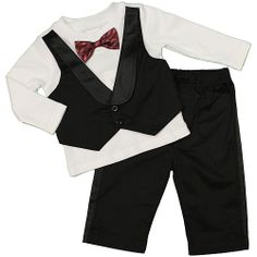 FAO Schwarz Boys 2 Piece Faux Tuxedo Vest Shirt with Bow Tie and Pant Set. Adorable dress-up outfit for Baby's First Christmas #BRUChristmas.