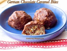 Grain Crazy: German Chocolate Caramel Bites (Protein) Chewy and healthy and taste so good.