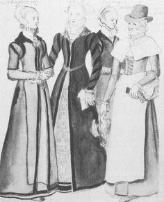 c1570, costume of Elizabethan London women
