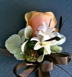 Baby Sock #Corsage #diy #idea (Tuberose and blackberry corsage)