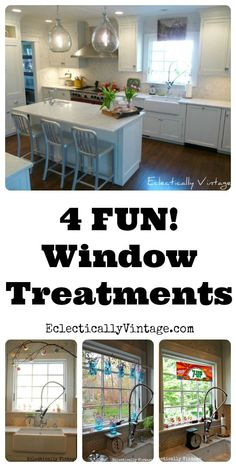 Four Unique Window Treatments! See the same window four different ways! eclecticallyvintage.com
