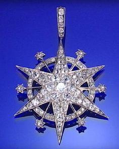 DIAMOND STAR PENDANT, CIRCA 1890