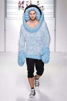 Business Insider shared a fashion week roundup of the over-the-top mens' knitwear from SIBLING............................................... They must have paid him well!!!!!!