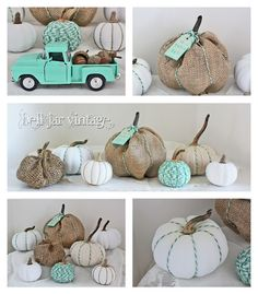 Homemade pumpkins. they aren't the typical black and orange. So cute!