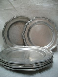 Vintage Wilton Columbia Pewter Plate Set of 6 Heavy by GiniCrafts
