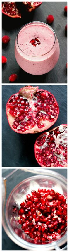 Cranberry Pomegranate Smoothie by crunchycreamysweet: Perfect pick-me-up! #Smoothie #Cranberry #Pomegranate #Healthy