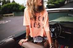 summer styles, fashion, reckless, cloth, crop tops, outfit, road trips, graphic tees, shirt
