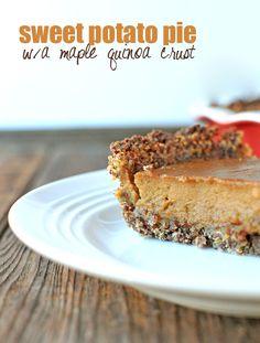 GF Sweet Potato Pie with a Maple Quinoa Crust - #TDayRoundUP entry via @Nosh and Nourish
