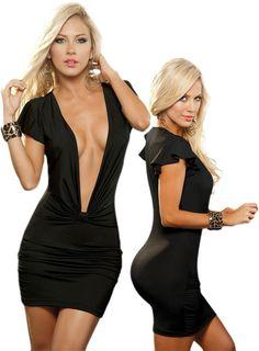 Sexy Black Short Sleeve Deep V-Neck Club Wear Mini Dress $34.99
