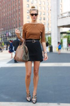 High Waisted Skirts and Tan Sweaters