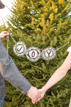 Joy Joy Joy! http://www.stylemepretty.com/illinois-weddings/2013/12/24/holiday-shoot-at-ide-christmas-tree-farm/ Amanda Hein Photography