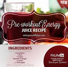 The Pre-Workout Energy Juice.  Did you try this already? If not, then this is a must try to give you loads of energy today! #cucumber #beet #lemon #ginger #carrots #apple