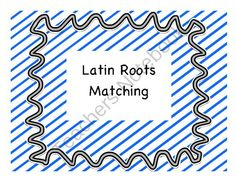 Latin Roots Matching from PamBlack on TeachersNotebook.com -  (4 pages)  - Matching game for Latin roots, words, and their meanings.