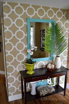 For the wall behind the mirror in the half bath on the main floor....painted accent wall...love the colors and everything about it.