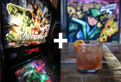 Pair cocktails with arcade games at Headquarters Beercade. We recommend The Avengers & The Brooklyner--a combo of rye, sweet vermouth, and Angostura.