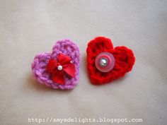 Heart crochet brooch - Broches en forma de corzón en crochet