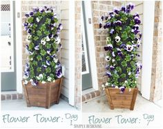 diy outdoor decorating ideas, 15 diy, diy ideas, towers, backyard idea, flowers, diy flower, flower tower, garden