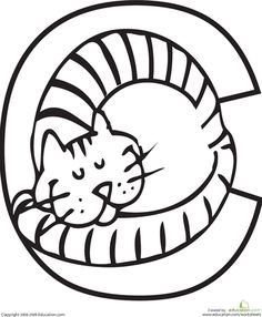 "Coloring sheet:  ""C"" is for CAT"