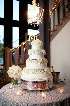 Wedding Cake with Lights as Decorations photo by Courtney Dox Photography