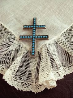 PARIS France STERLING Silver CROSS Brooch Turquoise by YearsAfter, $90.00