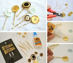 DIY Accessories - button hairpins