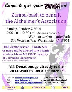 Zumba-bash for Alzheimer's - rain or shine! Come on out for a great time - 100% of donations go to the Alzheimer's Association!