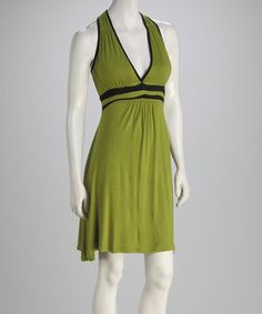 Take a look at this Green Empire-Waist Racerback Dress by Modern Touch on #zulily today!