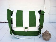 Bright green /white stripe hobo shoulder bag - adjustable strap