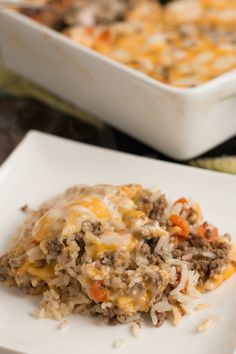 Cheesy Ground Beef and Rice Casserole - {Oh Sweet Basil}.. few ingredients, kid approved, quick evening meal