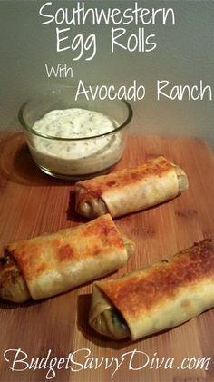 southwestern egg rolls with avocado ranch recipe