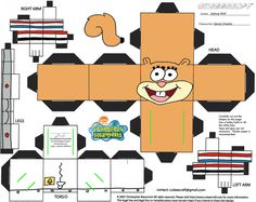Image detail for -sandy cheeks paper toy
