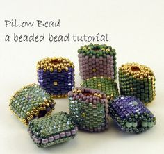 Beaded Bead Pattern - Peyote Stitch Pillow Bead - instant download pdf tutorial with photos and instructions