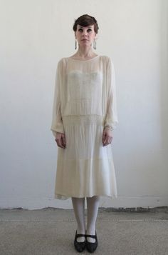 Antique Silk Wedding Gown  1910s  Edwardian  Sheer  by VeraVague - GORGEOUS!!!