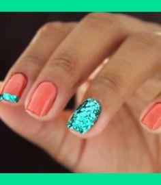 nail polish, color combos, polish nails, blue, the ocean, ring finger, glitter nails, summer nails, mermaid nail