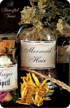 hair spell, diy ideas, bottl, apothecary jars, magical spells, mermaid hair, magic spell, potion, halloween