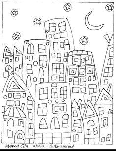 RUG HOOKING PAPER PATTERN Abstract City FolkArt KARLA G | eBay